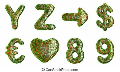Alphabet from plastic with abstract holes isolated on a white background. Y Z ,arrow, dollar, euro, heart, 8, 9 . 4K