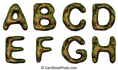 Alphabet from snake skin isolated on a white background. The...
