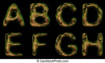 Alphabet from snake skin isolated on black background. The...
