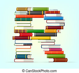 Alphabet from stacks of multi colored books - Letter R....