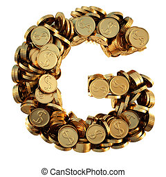 coins - alphabet from the golden coins. isolated on white....