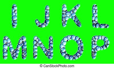 Alphabet from water bubble isolated on a green background....