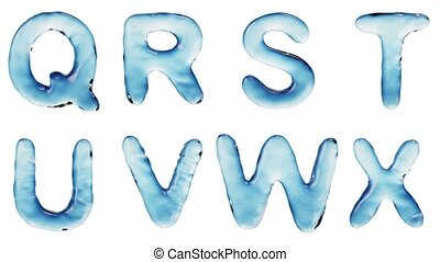 Alphabet from water isolated on a white background. The...