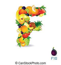 alphabet, fruit., lettre f