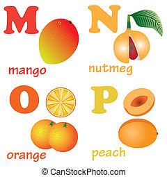 alphabet, fruits., lettres, m-p
