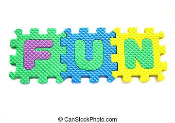 "Alphabet ""fun"" Puzzle Pieces on White Background"