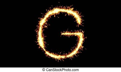 Alphabet G Text Sparkler Glitter Sparks Firework Loop ...