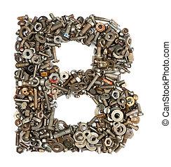 alphabet, gemacht, von, schrauben, -, buchstabe b