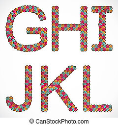 alphabet G,H,I,J,K and L  design