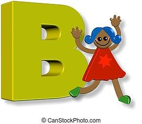 alphabet, girl, b