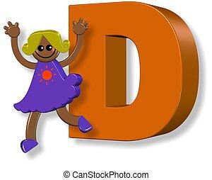alphabet, girl, d