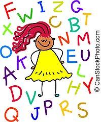 alphabet, girl