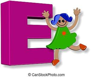 alphabet, girl, e