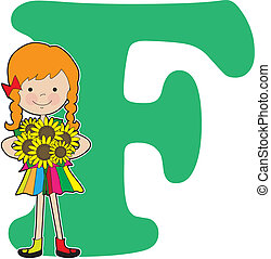 A young girl holding flowers to stand for the letter F