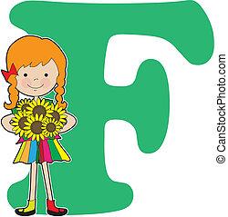 alphabet, girl, f