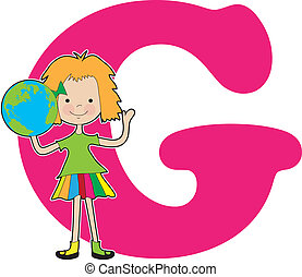 A young girl holding a globe to stand for the letter G