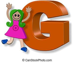 alphabet, girl, g