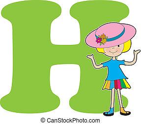 alphabet, girl, h
