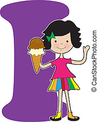 Alphabet Girl I - A young girl holding an ice cream cone to...