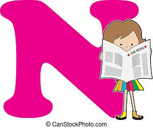 alphabet, girl, n
