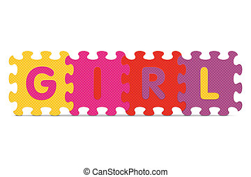 alphabet, girl, puzzle, écrit
