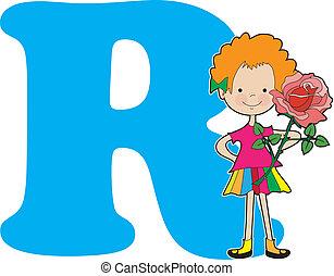 alphabet, girl, r
