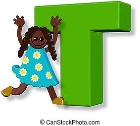 alphabet, girl, t