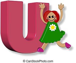alphabet, girl, u
