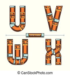 Alphabet Golden Pipes comic style in a set UVWX