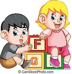 alphabet, gosses, bloc jouant