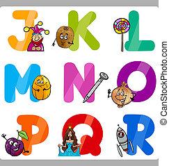 alphabet, gosses, lettres, education, dessin animé