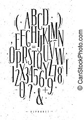Alphabet gothic font - Alphabet set gothic font in vintage...