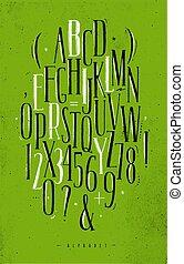 Alphabet gothic font green