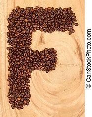alphabet, grains café, lettre f