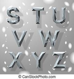 alphabet, grau, teil, 3., poppig, geometrisch, fractal