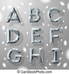 alphabet, grau, teil, poppig, geometrisch, fractal, 1.