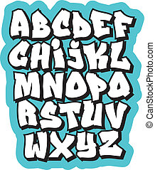 alphabet., griffonnage, vecteur, graffiti, comique, police, dessin animé