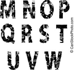 Alphabet Grunge Font Style. Letters made from Halftone Dots.