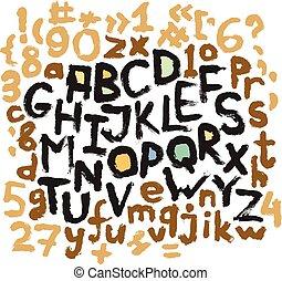 Alphabet grunge letters. Hand drawn ink illustration.