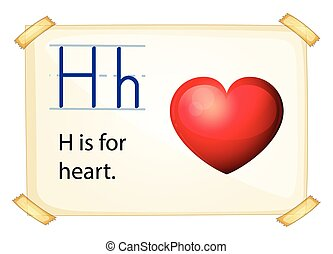 Alphabet H - illustration of a flashcard letter H for heart