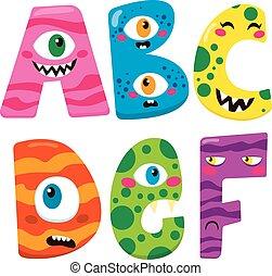 alphabet, halloween, monstre