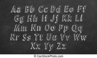 Alphabet - Hand drawing alphabet on blackboard