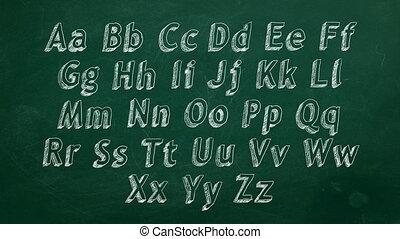 Alphabet - Hand drawing alphabet on green chalkboard