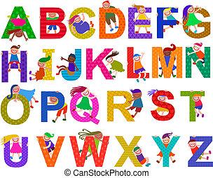 alphabet, heureux, ensemble, gosses