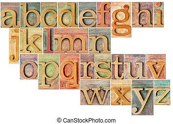 alphabet, holz, art, briefkopierpresse
