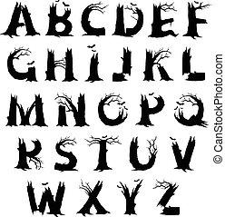 alphabet, horreur, halloween, lettres