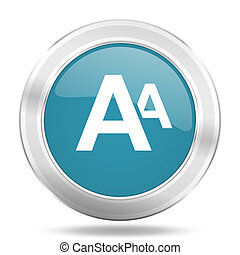 alphabet icon, blue round glossy metallic button, web and mobile app design illustration