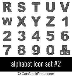Alphabet. Icon set 2. Gray icons on white background.