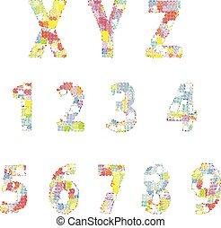 alphabet, illustration, créatif, clair, vecteur, comique, dessin animé