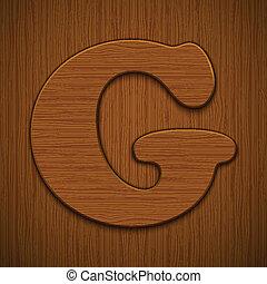 "alphabet., illustration., houten, ""g""., vector, brief"